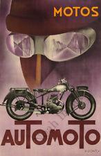 Automoto Motos vintage motorcycle ad poster repro 12x18