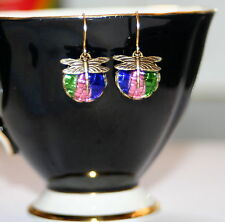 Vintage basket weave reflector glass iris rainbow dragonfly dangle drop earrings