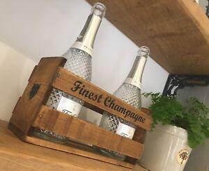 Rustic Wooden Vintage Wine Holder Box ~ Champagne / Wine / Shelf ~