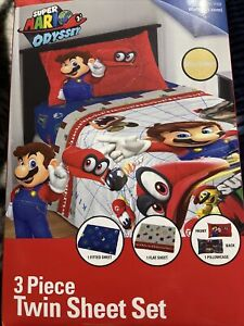 Super Mario Odyssey Sheet Set, Kids Bedding, 3-Piece Twin Size