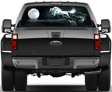 White horse Spirit attacked by wloves  Rear Window Graphic Decal Truck SUV