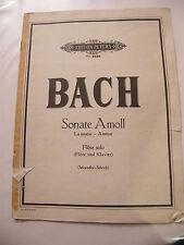 Partition Bach Sonate A Moll La Mineur Flûte Solo Edition Peters