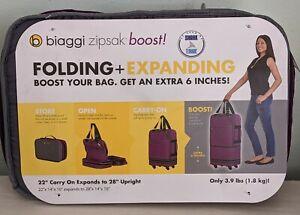 Biaggi Zipsak Boost Folding + Expanding Purple Carry On Luggage Model 631128 NWT