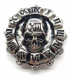 Clock of skulls concho snap silver leather Gothic biker solid belt wallet screw