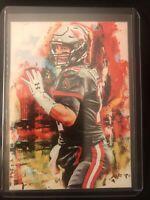 2021 Tom Brady Tampa Bay Buccaneers 9/25 Art ACEO Black Sketch Print Card By:Q