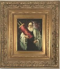 Gorgeous painting of a Rabbi carrying the scrolls.  Signed & beautifully framed.