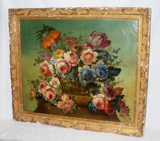 Ancienne hst XIXe style XVIIe siecle Ecole flamande nature morte bouquet fleurs
