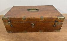 More details for antique georgian mahogany & brass bound campaign box