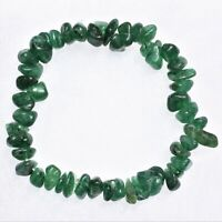 Premium CHARGED Green Aventurine Crystal Chip Stretchy Bracelet + Selenite Heart