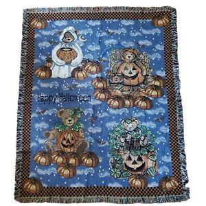 Happy Halloween Tapestry Blanket Teddy Bear Pumpkin Fringed Woven Throw Gift