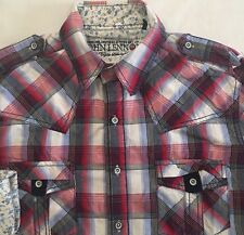 Men's ENGLISH LAUNDRY JOHN LENNON Red Gray Plaid L/S Shirt M Medium Flip Cuffs