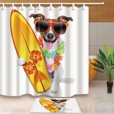 Dog and surfboard Bathroom Shower Curtain Waterproof Fabric w/12 Hooks 71*71inch