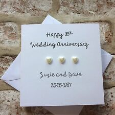 Personalised 30th Wedding Anniversary card handmade for Pearl anniversary