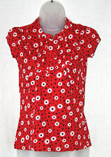 NEW LOOK (UK10 / EU38) RED STRETCH 100% COTTON CAP-SLEEVE DAISY PATTERN TOP