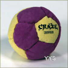 Zeekio Craze Footbag - 12 Panel Pellet Filled Amara Suede - Purple/Yellow