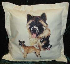 Hand crafted Akita dogs cushion cover