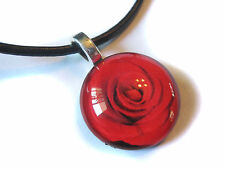 Red Rose Glass Bubble Pendant With FREE Necklace