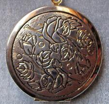 Vintage Large Rose Locket Pendant Watch Chain Necklace Classic Medieval RenFair