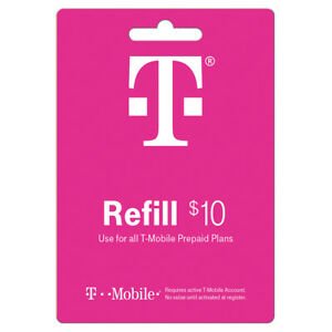 T-MOBILE Prepaid $10 Refill Top-Up Prepaid Card / DIRECT RECHARGE!!!
