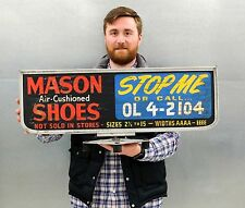 Mason Shoes Car Roof Advertising Wood Sign Double Sided Vintage 1950s 1960s
