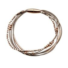 Magnetic Bracelet With Six Grey Leather Strands and Rose Gold Beads - Riley RG