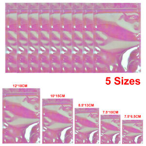 100/200Pcs Shiny Holographic Rainbow Laser Foil Heat Seal Zip Lock Pouch Bags UK