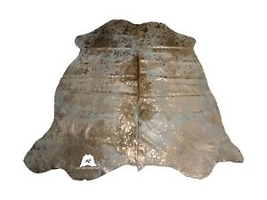 Bronze Acid Washed COWHIDE RUG – Size: 7'x 6' Ft – Premium Cow Hide Rug