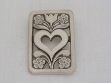 R Tennesmed Sweden Pewter Open Flower And Heart Pin Brooch