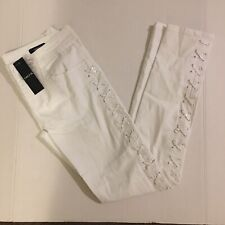 Nwt Cache Womens White Lace Up Skinny Pants Sz 0,4,6 Msrp$118
