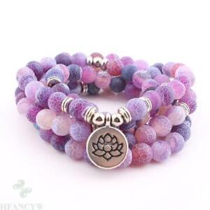 8mm 108 beads purple jade bracelet lotus Buddha pendant Hot Meditation