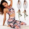 Womens Floral Yoga Workout Set Fitness Gym Running Sport Bra Pants Leggings Suit