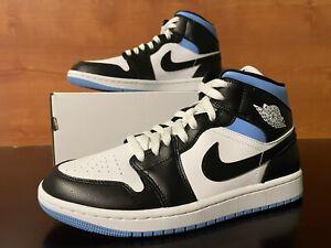 Nike Air Jordan 1 Mid University Blue Black White Women's Size 9.5 BQ6472-102