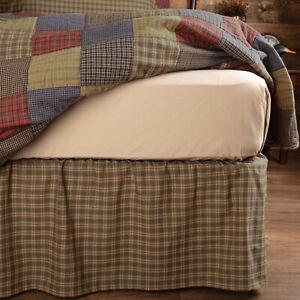 VHC Brands Rustic Twin Bed Skirt Green Gathered Cedar Ridge Cotton Bedroom Decor