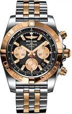 NEW BREITLING CHRONOMAT 44 18K GOLD TWO-TONE BLACK ONYX DIAL WATCH CB0110121B1C1