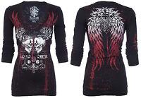 Rebel Saints AFFLICTION Womens LS T-Shirt GARAGE Biker Sinful S-XL $58 b