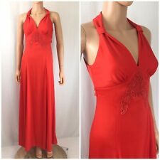 Vtg. 70s Maxi Hostess Dress Halter Style Cocktail Empire Waist Dress Disco Red S
