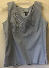 New Norton McNaughton Womens S Blue Gray Linen Blend Sleevless Embroidered Top