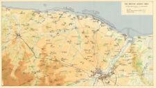 D-Day GIUGNO 1944 assalto inglesi area. Caen Bayeux spada d'oro Juno Beach 1962 Mappa