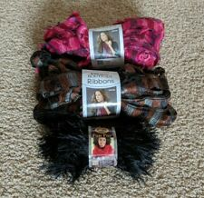 New listing Lot of Yarn Red Heart Boutique Ribbons (Marble, Rosebud) and Lion Brand (Black)