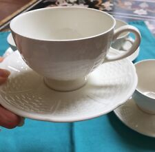 Wedgwood Set Of 4 WILLOW WEAVE - Footed Tea Cups & Saucers,  ENGLAND VTG
