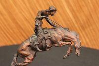 Remington Cowboy W/horse Bronze Sculpture Wooly Chap Figure Statue Home Deco Art