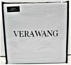 Vera Wang 4 PC Cotton Sateen Sheet Set Snakeskin Grey White Queen - NEW