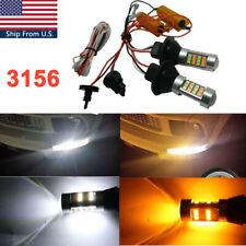 3156 LED Switchback Turn Signal DRL White/Amber Parking Light Blub + Resistor