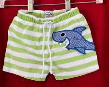 Mud Pie Boys Size 12-18 Months Shark Applique Lined Swim Trunks White/Green