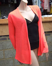 Divided H&M XS Lovely Knitted Vibrant Orange Long Sleeve Knit Open Cardi Top