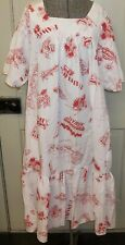 Vintage 1950s A Touch of Hawaii Red White Print Maxi House Dress Duster MuMu M/L