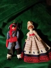 2 Vintage dolls Wood Clothes Pin patriotic girl & revolutionary soldier
