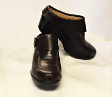NEW Sanita Nikolette 8.5-9/39 Open Back Clogs Shoes Brown Leather Button Details