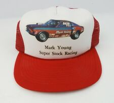 True vintage Trucker Hat Super Stock Car Racing Mark Young Boss Mustang Ford STP