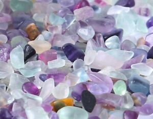 100 Natural Flourite Crystal Tumbled Chips Stone Assorted Colors Supply Bulk Lot